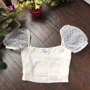 Zara white sheer polkadot shoulder cropped blouse
